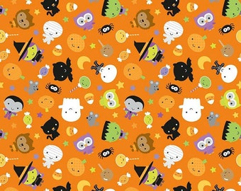 Ghouls & Goodies by Riley Blake - Ghouls Orange - Glow In The Dark - Cotton Woven Fabric