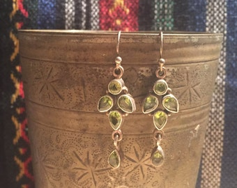 Vintage Peridot Earrings...Sterling Silver Earrings....Gypsy...Hippie...Birthstone...Ethnic...Gift...Vintage Shop