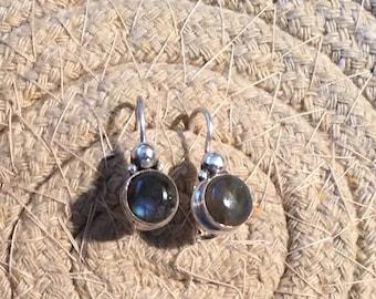 Labradorite Earrings...Sterling Silver Earrings...Handmade Vintage Earrings...Ethnic...Hipster...Gypsy...Vintage Shop...LV114