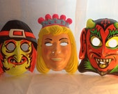 Neon Vintage Halloween Masks 70's Kids Halloween Mask Bright Plastic Retro Halloween Face Masks Vintage Halloween Costume Mask Child's Mask
