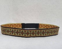Mens Boho Headband Hippie Bohemian Headbands- black gold orange festival wear hairpiece- Burning Man Coachella 70s headbands Celtic LARP SCA