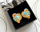 SALE Stud Earrings, Blue Orange Earrings, Hand Embroidery, Everyday Earrings, Turquoise Orange Jewelry, Christmas Gift For Girlfriend