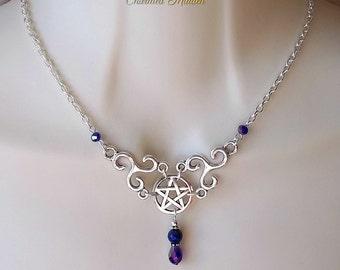 Pentagram & Triskele Necklace, Lapis Necklace, Celtic Necklace, Gemstone Necklace, Triskelion, Pentacle, Pagan, Druid, Wiccan, Wicca
