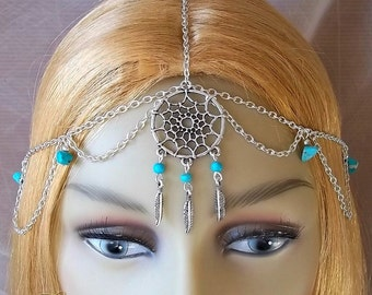 Dreamcatcher Head Chain, Headpiece, Feather Headdress, Turquoise Headpiece, Tribal, Native American Inspired, Boho, Bohemian, Cosplay, Larp
