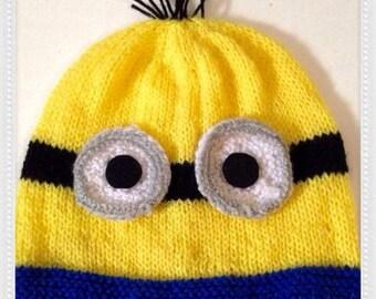 Knitting Pattern For Minion Beanie : Knit minion hat Etsy
