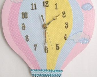 Hot Air Balloon Clock,  Hot Air Balloon Wall  clock, Nursery Clock, Nursery Hot Air Balloon Clock, Clock