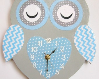Nursery Wall Clock, Nursery Owl Clock, Hanging Owl Clock, Children's Room Wall Clock, Owl Wall Clock, Kid's Room Owl Wall Clock (grey/blue)