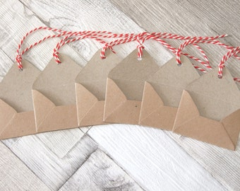 Rustic, Vintage Style Mini Kraft Envelope Tags, With Red & White Bakers Twine - Set of 6