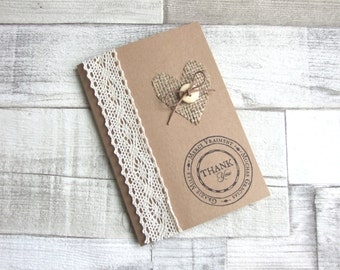 Handmade Recycled Brown Kraft Thank You Cards, Crochet Lace, Hessian / Burlap Heart & Wooden Button Detail