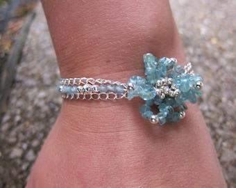 Sky blue apatite bracelet, flower bracelet