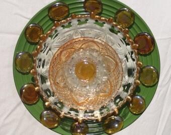 Glass Garden Flower, Yard Art, Recycled Garden Art, Sun Catcher, Boho, Honey Drops (060688)