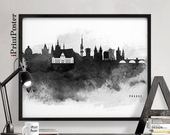 Prague print, Prague poster, Wall art, Czech republic, Black and white, Prague watercolour skyline, Travel poster, Home decor, iPrintPoster