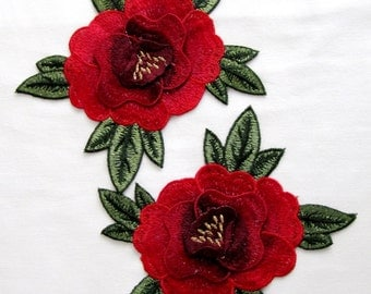 2 PCS Rabsido Rose Patches,CARMEN Flower Embroidered,Rose Applique,Fashion Embellishment,DIY Craft,Fashion Craft,Sew On,Three Storeyed Patch