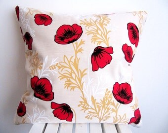 Poppy Pillow Cover Poppy Pillow Case Decorative Pillow Poppy Throw Pillow Mustard Cushion Cover Accent Pillow Floral Pillow Red poppy 18''