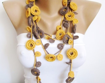 Crochet Necklace /MOSTAZA/ Mustard Necklace/ BrownNecklace/Handmade/Crochet Belt/ Floral Necklace/Headband/Gift for her