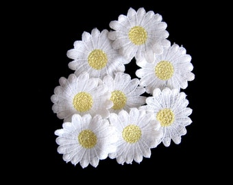 Embroidery Daisy Applique  8 PCS. White Daisy with Yellow Flower DIY Craft Embellishment Daisy Patch