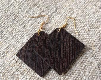 Wood earrings, geometric