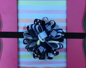 Navy hair bow