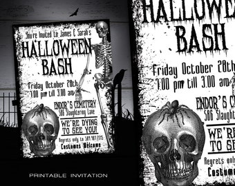 Adult Halloween Party Invitation Printable - Vintage Halloween Invitations - DIY Halloween Invites w/ Skeleton - Halloween Costume Party