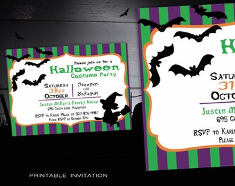 Kids Halloween Party Invitation, Spooky Printable Halloween Invitations, DIY Halloween Costume Party Invites Kids, Whitch and Bats