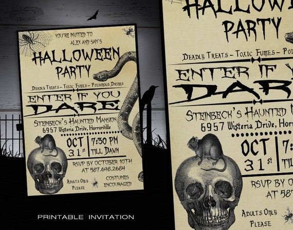Genius image for free printable halloween invitations for adults
