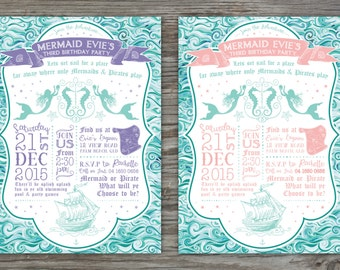 Customised Kids Birthday Party Invitation - Mermaids & Pirates Theme