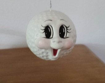 Ceramic Golf Ball Ornament with happy Face (#348A)