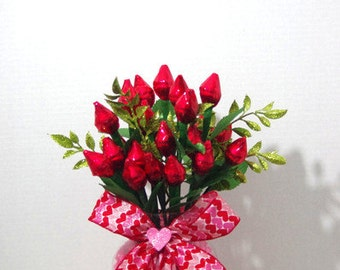 Valentine's Day - Red Hershey Kiss Roses - Two Dozen