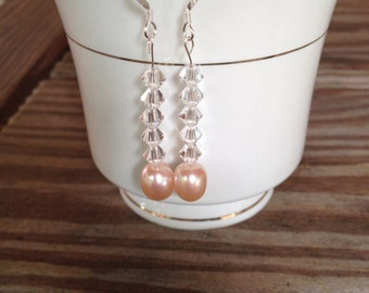 Pink pearl with crystal