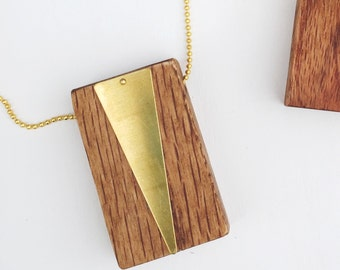 Wood Block Necklace with Raw Brass Triangle