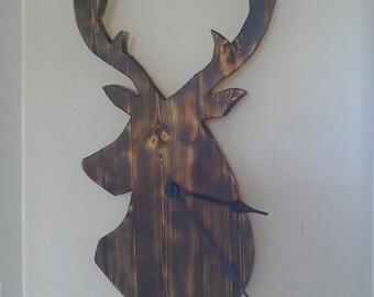 Rustic deer clock
