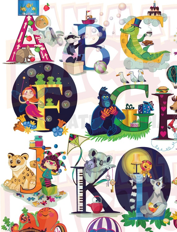 Printable A2 - Animal and Character Alphabet Poster, Highly detailed ABC poster,
