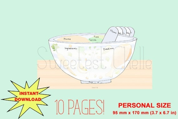 Cute Printable Personal Size Pages Recipe Cards by SweetestChelle