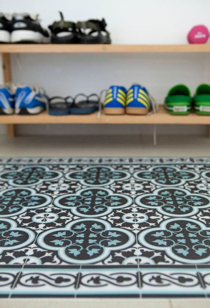 Tiles Pattern Decorative PVC vinyl mat Color Dark Brown And
