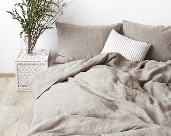Natural Stone Washed Linen Duvet Cover