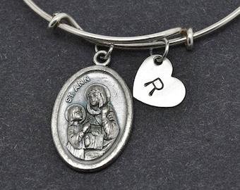 St Ann Bangle, Sterling Silver Bangle, St Ann Bracelet, Bridesmaid gift, Personalized Bracelet, Charm Bangle, Initial Bracelet, Christian