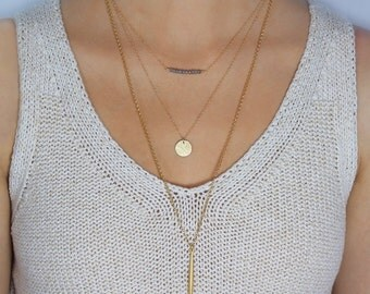 Gold Disc Necklace, Medium Disc Necklace, Medium Gold Tag Necklace, Hammered Disc Necklace, 14K Gold Filled Necklace 13mm LC101HG