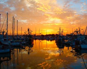 Photography Ventura Harbor Sunrise, California boats
