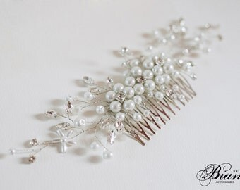 Bridal Headpiece, Bridal Hair Comb, Wedding Hairpiece, Pearl and Rhinestone Hairpiece,  Bridal Hair Comb, Wedding Hair Accessories