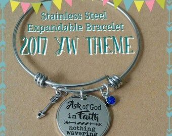 Stainless steel expandable bracelets, with charms, Young Women 2017 Theme, LDS gift, If any of you lack Wisdom.