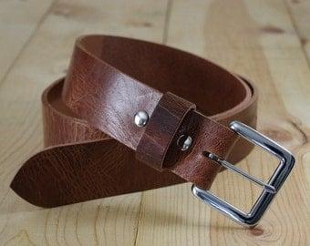 "Handmade Genuine Buffalo Leather Belt_Men's Belt_1.25"" & 1.5""_Made in Indianapolis, USA"