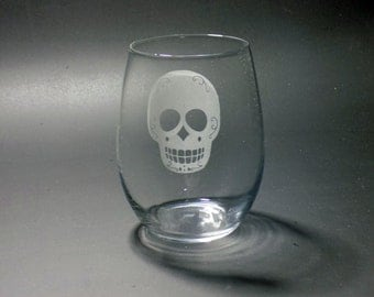 Sugar Skull Stemless Wine Glass - Minimalist Sugar Skull - Day of the Dead Wine Glass - Elegant Sugar Skull - Halloween Wine Glass