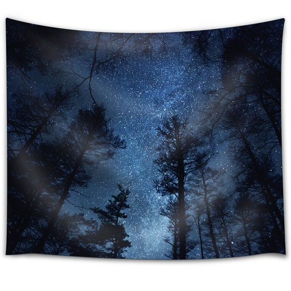 Forest Lake Fabric Home: Starry Sky Above A Forest Fabric Tapestry Home Decor