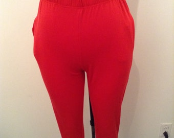High waisted stretch red pants