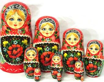 "Nesting doll ""Khokhloma motives"" 10 pcs"