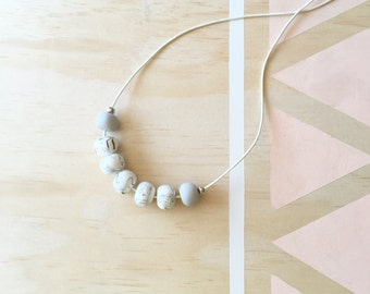 Polymer clay bead necklace. Marble, grey, silver, leather 'the katie'