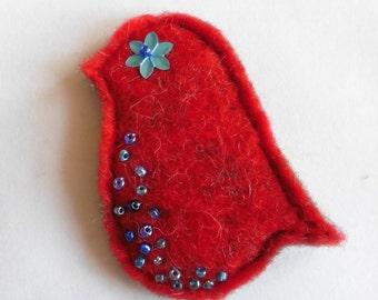 Red Bird Brooch - hand felted