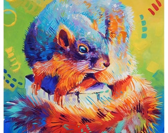 "Colorful Squirrel - Original colorful traditional painting paper acrylic 8.5""x11"""