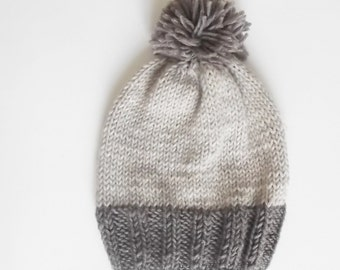 Boys knit hat, toddler hat, knit hat, pompom knit hat, kids knit hat, beanie, slouchy beanie knit hat custom knitted hat