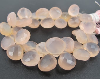 Peach Chalcedony faceted briolette beads. Teardrop chalcedony beads. Loose gemstone